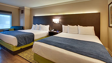 Hotel room with two queen beds