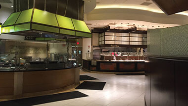 The serving stations inside the Eat Up Buffet at Hollywood Casino in St. Louis, Missouri.