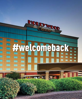 "Hollywood Casino St. Louis property exterior with text ""#welcomeback"""