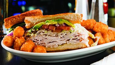 club sandwich and tater tots