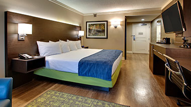 hotel room with king bed and tv